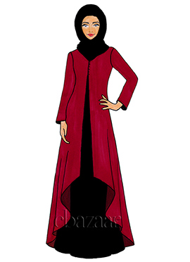 Tango Red Georgette Jacket Style Abaya