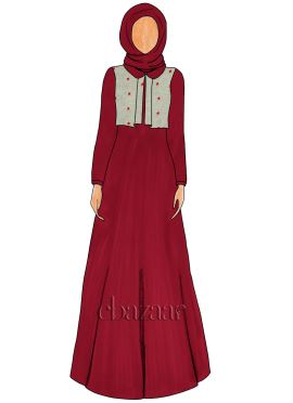Tango Red Georgette Peter Pan Collar Abaya