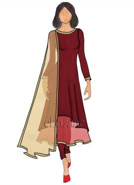 Tango Red Soft Silk Layered Anarkali Suit