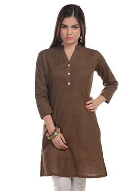 Taupe Brown Blended Cotton Striped Kurti