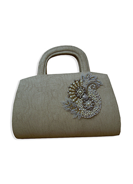 Taupe Grey Faux Leather Hand Bag
