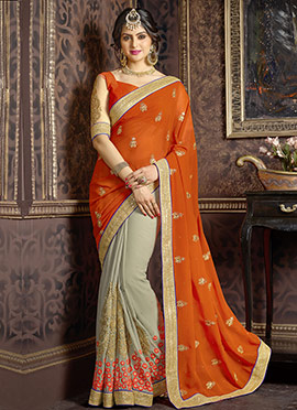 Taupe Grey N Orange Half and Half Saree