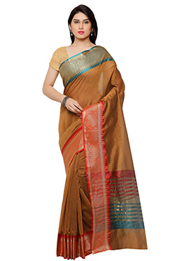 Tawny Brown Blended Cotton Saree