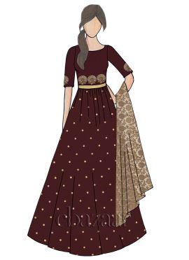 Tawny Port Raw Silk Abaya Style Anarkali