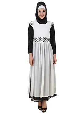 Taybah White N Black Crepe N Net Abaya