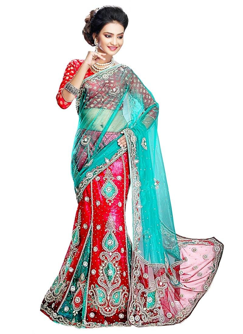 Buy Teal And Red Net Lehenga Saree Beads Stones Lehenga Saree Online Shopping Sakvf1216