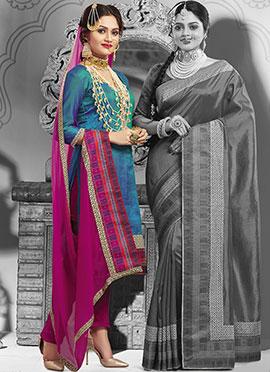 Teal Art Silk Churidhar Suit