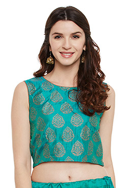 Studiorasa Teal Art Silk Crop Top