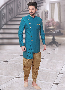Teal Art Silk Indowestern Sherwani