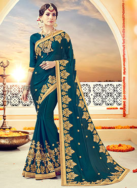 Teal Art Silk Saree
