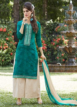 Teal Blended Cotton Palazzo Suit