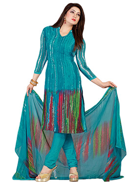Teal Blue Abstract Printed Churidar Suit