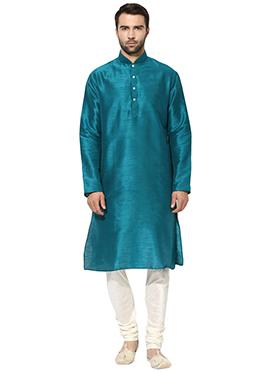 Teal Blue Art Dupion Silk Kurta Pyjama