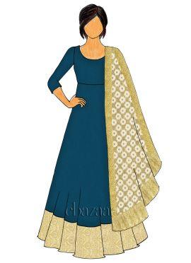 Teal Blue Art Raw Silk Abaya Style Anarkali