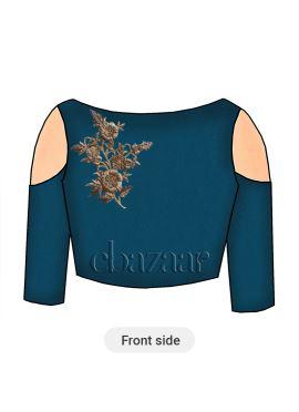 Teal Blue Art Raw Silk Cold Shoulder Blouse