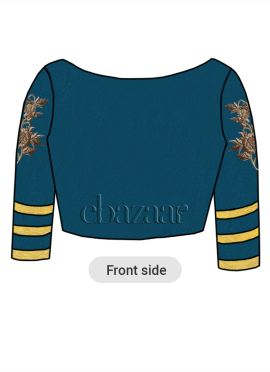 Teal Blue Art Raw Silk Embroidered Blouse