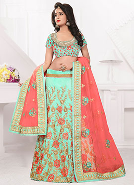 Sea Green Art Silk A Line Lehenga