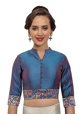 Teal Blue Art Silk Blouse