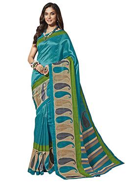 Teal Blue Art Silk Cotton Saree
