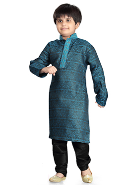 Teal Blue Art Silk Kids Kurta Pyjama