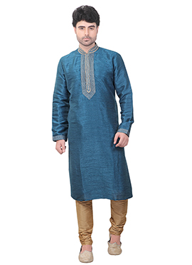 Teal Blue Art Silk Kurta Pyjama