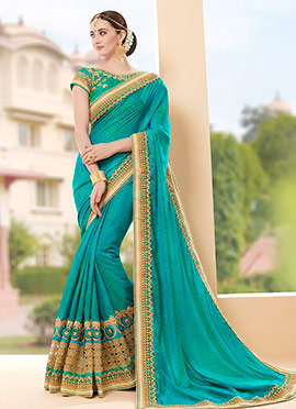 Teal Blue Art Silk Saree