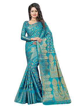 Teal Blue Art Silk Saree