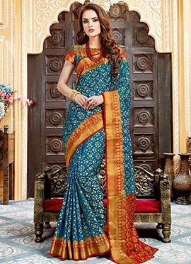 Teal Blue Art Tussar Silk Saree