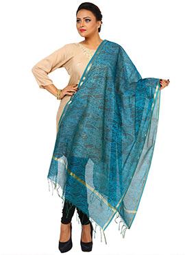 Teal Blue Benarasi Cotton Printed Dupatta