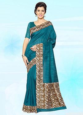 Teal Blue Bhagalpuri Art Silk Saree