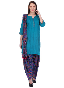Teal Blue Pure Cotton Patiala Suit
