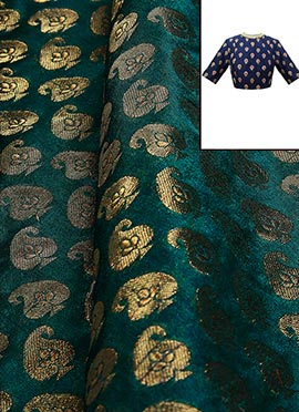 Teal Blue Brocade Blouse