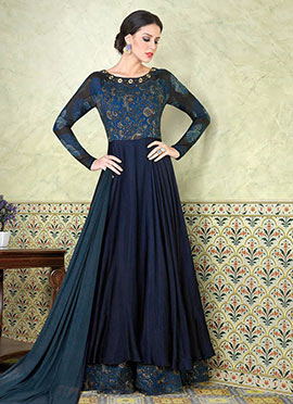 Teal Blue Cotton Satin Abaya Style Anarkali Suit