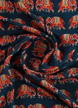 Teal Blue Digital Printed Modal Silk Fabric