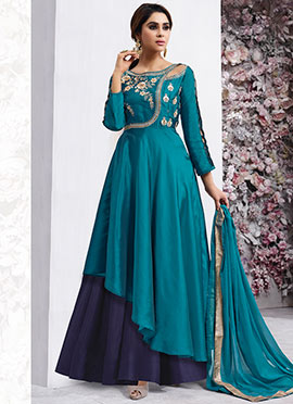 Teal Blue Embroidered Anarkali Gown