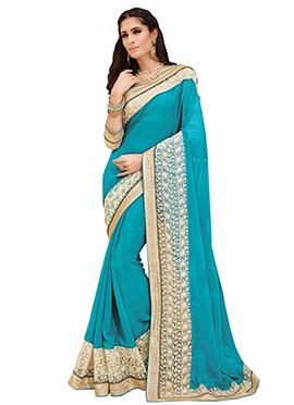 Teal Blue Embroidered Saree