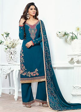 Teal Blue Georgette Palazzo Suit