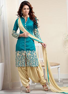 Teal Blue art silk Patiala Suit