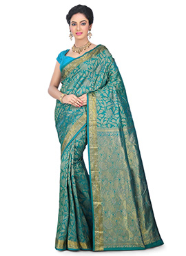 Teal Blue Kancheepuram Pure Silk Saree