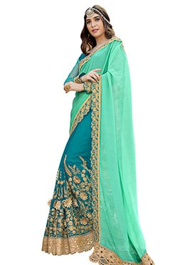 Teal Blue N Aqua Green Half N Half Saree