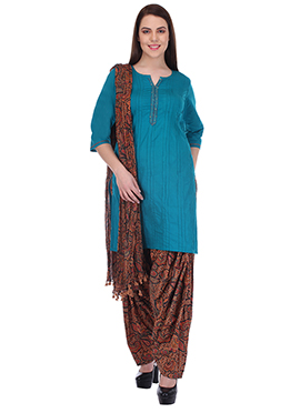 Teal Blue N Brown Pure Cotton Patiala Suit