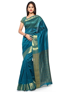 Teal Blue N Gold Blended Cotton Saree