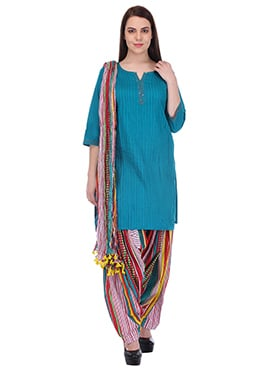 Teal Blue N Multicolored Pure Cotton Patiala Suit