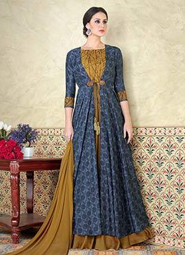 Teal Blue N Mustard Tussar Silk Abaya Style Anarkali Suit