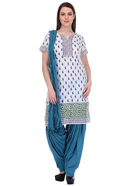 Teal Blue N White Pure Cotton Patiala Suit