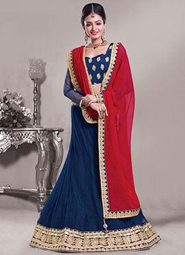 Teal Blue Net Embroidered Lehenga Choli