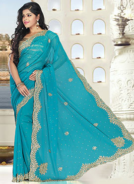 Teal Blue Pure Georgette Saree