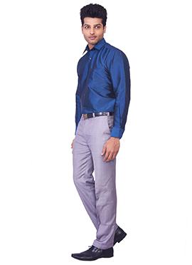 Teal Blue Pure Silk Classic Shirt
