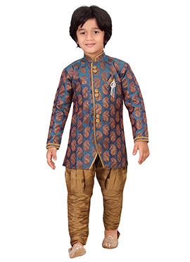 Teal Blue Silk Blend Boys Sherwani