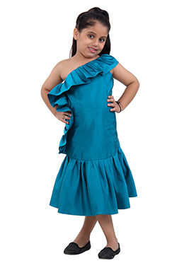 Teal Blue Taffeta Kids Wear